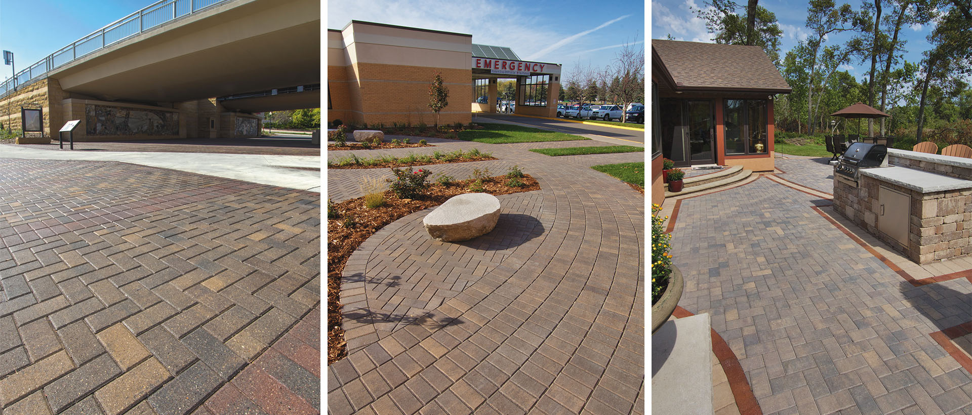 Interlock's Holland is larger than typical Holland pavers. They have a smooth tops, beveled edges and small auto-spacers. Popular for patios, paths, pool decks, drives, and borders and insets.